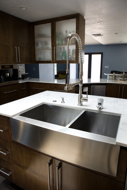 Stainless Steel Farmhouse Sink Contemporary Kitchen