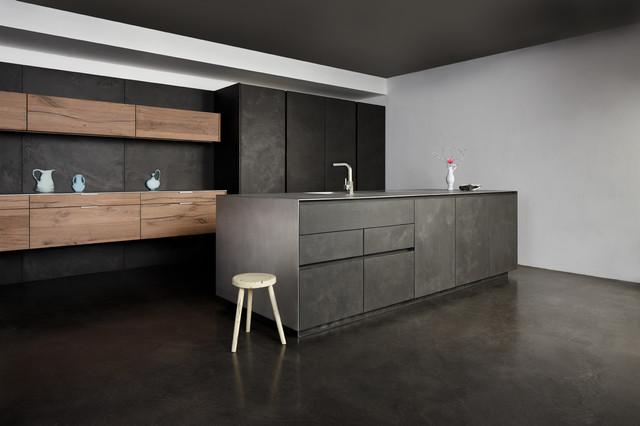 Concrete vintage oak contemporary kitchen london for Cement kitchen cabinets