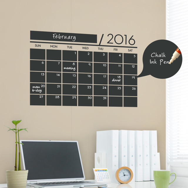chalkboard calendar 2016 wall decal contemporary wall decals