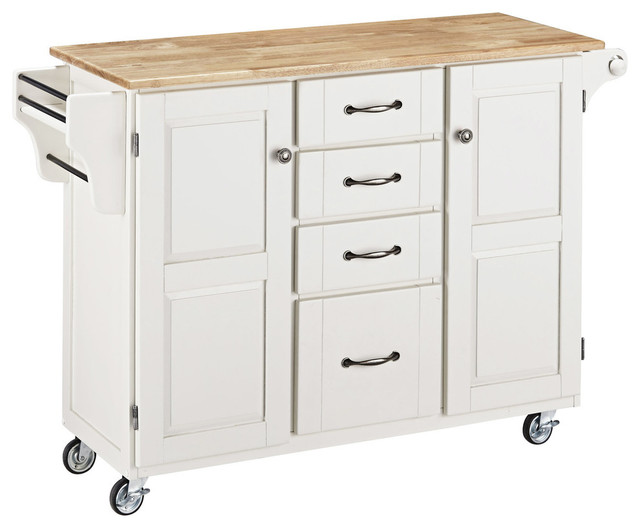 Create a cart white finish with natural wood top for Home styles natural kitchen cart with storage