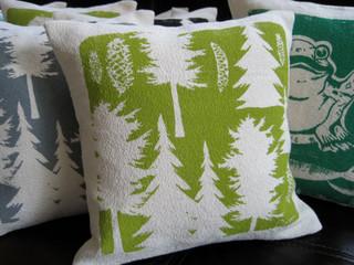 Pillow Green Pine Tree Maine Woods Hand Screened By Erin