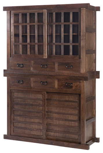 Tansu cabinet double natural walnut asian china for Tansu bathroom vanity