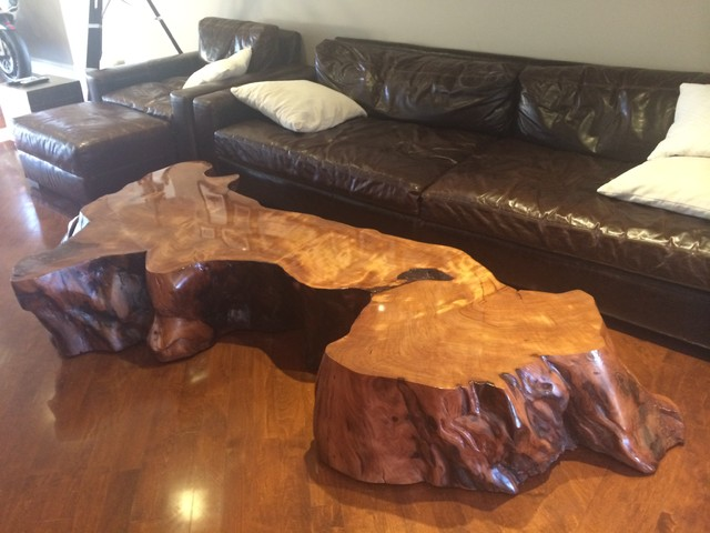 Large Redwood Slab Coffee Table Contemporary Los