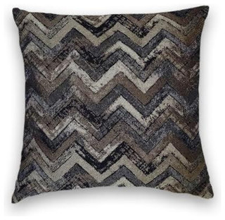 Grey Black Brown Zig Zag Throw, 20x20 Pillow Cover - Traditional ...