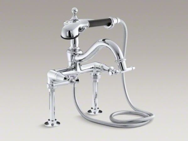 KOHLER Antique floor- or wall-mount bath faucet with lever handles and ...