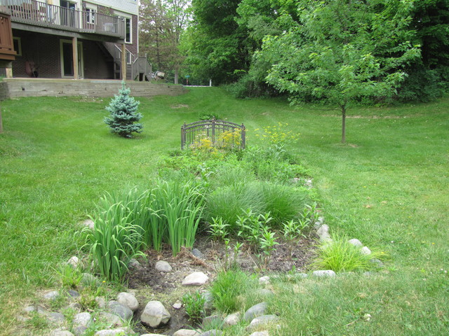 Rain garden step pools detroit by creating sustainable for Home garden design houzz