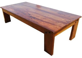 Wood Large Rustic Sofa Coffee Cocktail Table - Contemporary - Coffee ...