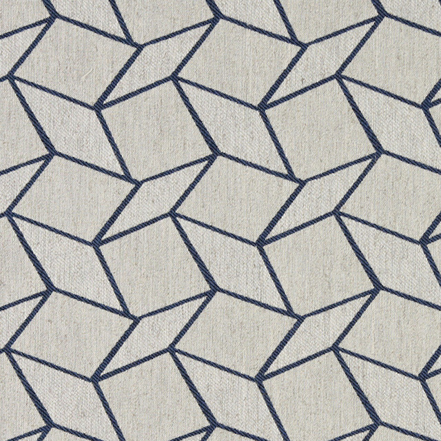 Blue and Off White Geometric Boxes Upholstery Fabric By