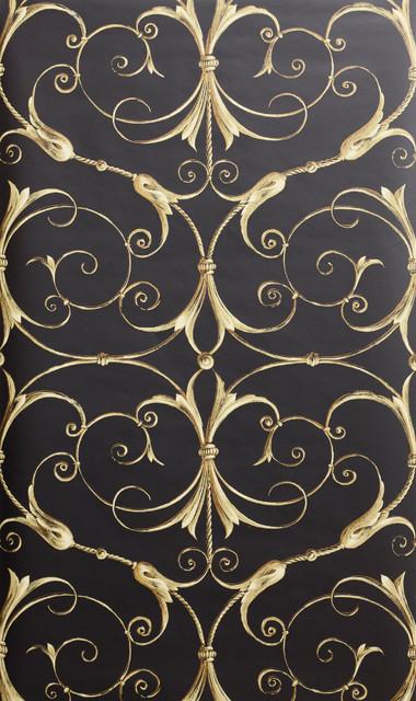 Black Gold Damask Wallpaper Traditional Wallpaper