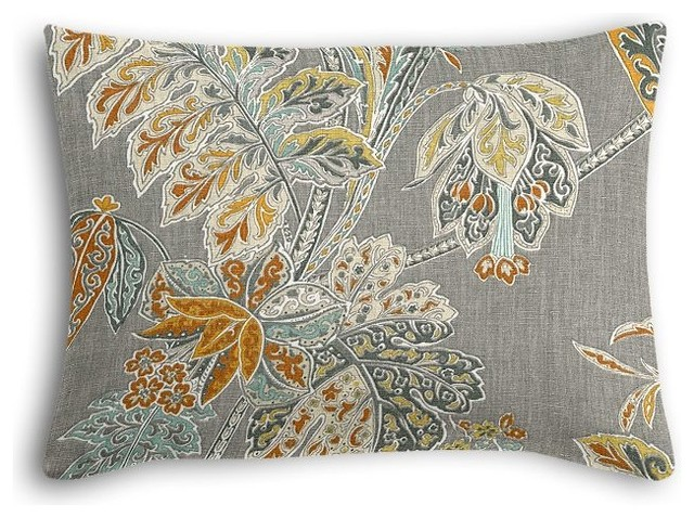 Paisley-Style Gray Floral Boudoir Pillow - Traditional - Decorative Pillows - by Loom Decor