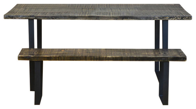 Salvaged Urban Wood Dining Table Scorched Stain Finish 36x72x30 Dark Walnut