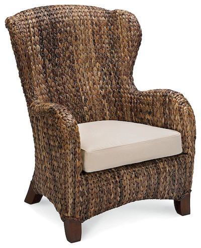 Seagrass Wingback Armchair - Traditional - Outdoor Lounge Chairs - by Pottery Barn