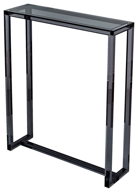Ava modern tall narrow smoke grey acrylic console table for Narrow console table modern