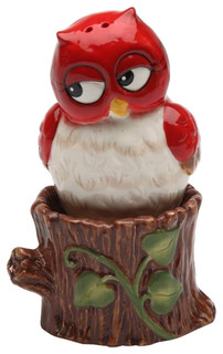 Red owl on tree stump festive christmas season salt and pepper shaker eclectic salt and - Owl salt and pepper grinders ...