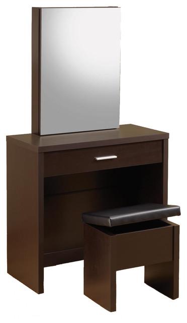 Glossy make up table vanity set hidden storage mirror lift