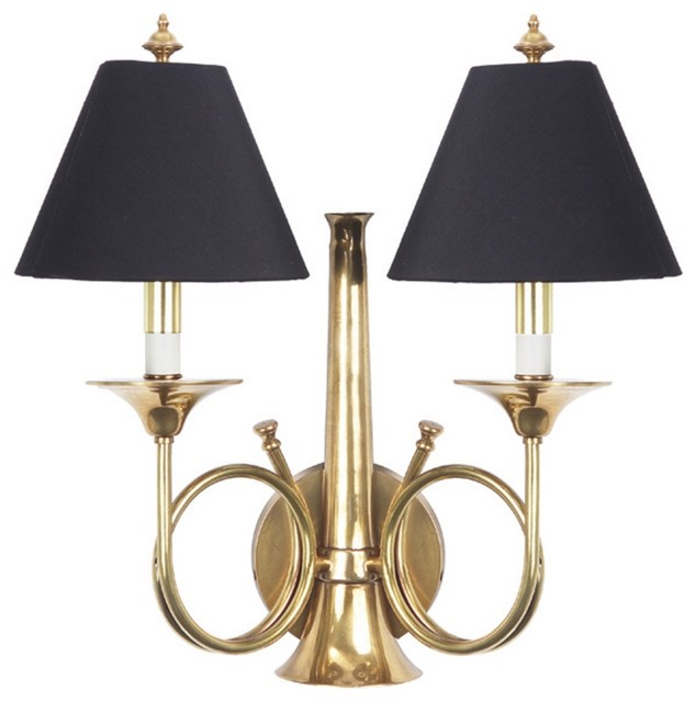 Frederick Cooper Hunting Horn Brass Plug In Wall Sconce