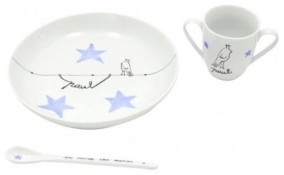 set repas porcelaine personnalisable bleu contemporain tasse et assiette b b par r ve de pan. Black Bedroom Furniture Sets. Home Design Ideas