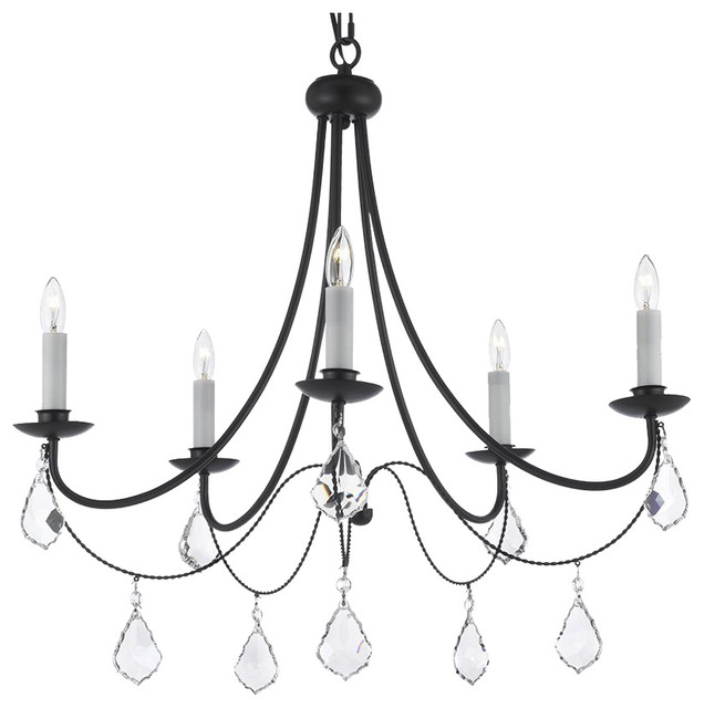 Empress Crystal Wrought Iron Chandelier Five Lights Traditional Chandeliers By Gallery