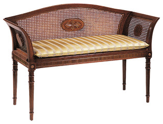 English Style Beech Wood Bench With Cane Back Traditional Indoor Benches By Inviting Home Inc