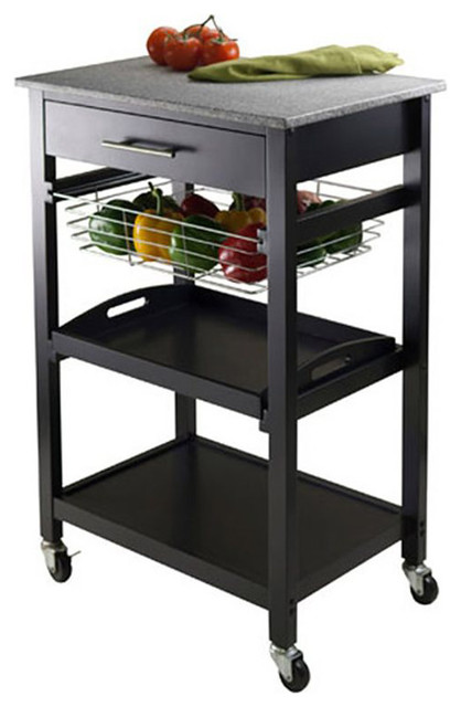 Winsome Wood Julia Utility Cart With Black Finish X 22302