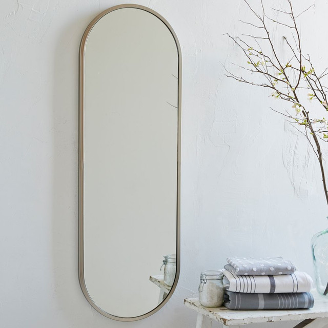 Metal oval floor mirror modern wall mirrors by for Floor wall mirror