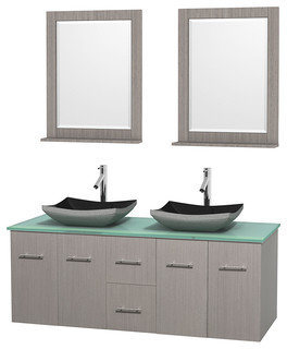 Centra 60 Grey Oak Vanity Green Glass Top Altair Sinks Mirrors Mod
