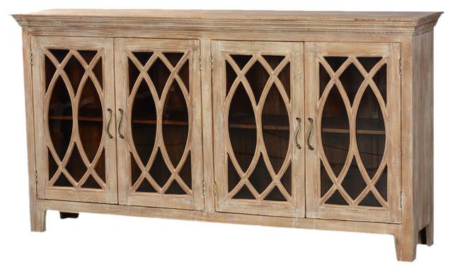81 5 Solid Wood Glass Door Sideboard 4 Door Rustic Buffet