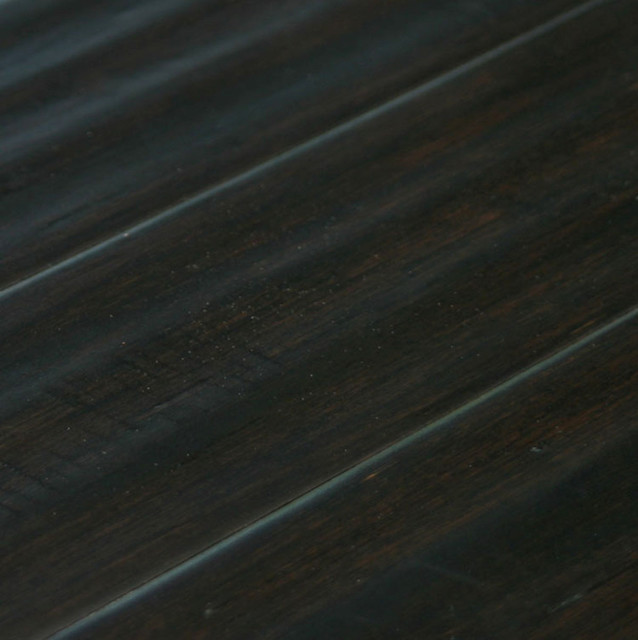 "Engineered Strand Woven Bamboo Flooring: Ebony Distressed Hand-Scraped 9/16"" Engineered Strand"