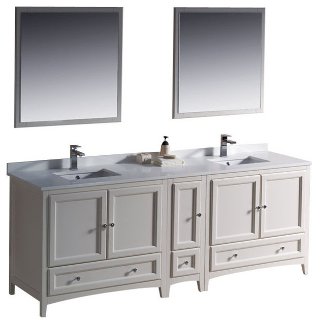84 inch double sink bathroom vanity in antique white for Bathroom cabinets 84 inches