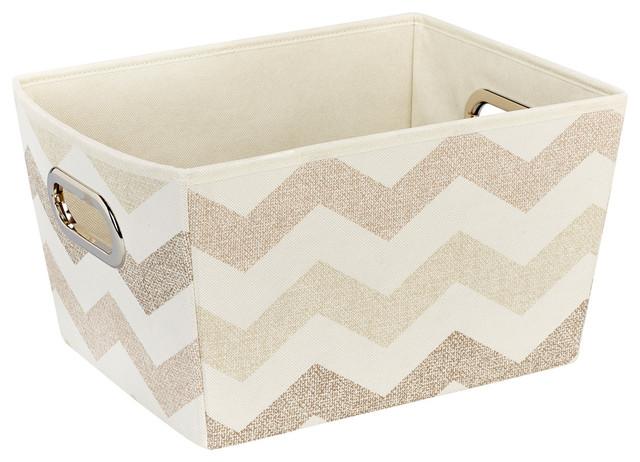 Textured chevron storage bin medium beige set of 3 for Beige bathroom bin