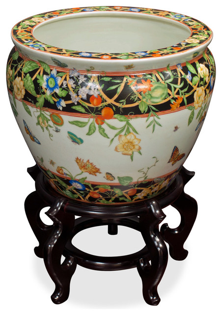 12 hand painted porcelain fishbowl asian indoor pots for Asian furniture westmont il