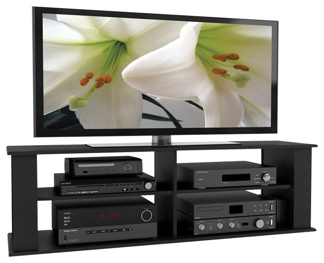 """Sonax Fillmore 58"""" Midnight Black TV Component Stand - Modern - Entertainment Centers And Tv ..."""