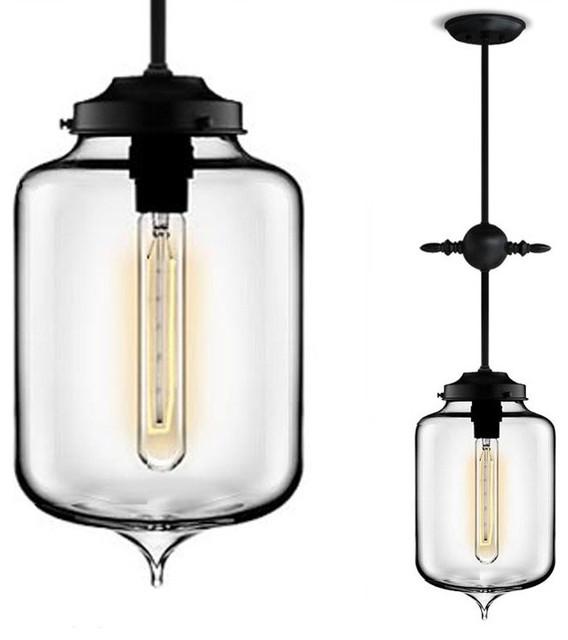 Modern Symbol Cross Glass Jar Pendant Lighting