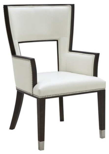 Comfortable Leather Dining Armchair Ivory Contemporary
