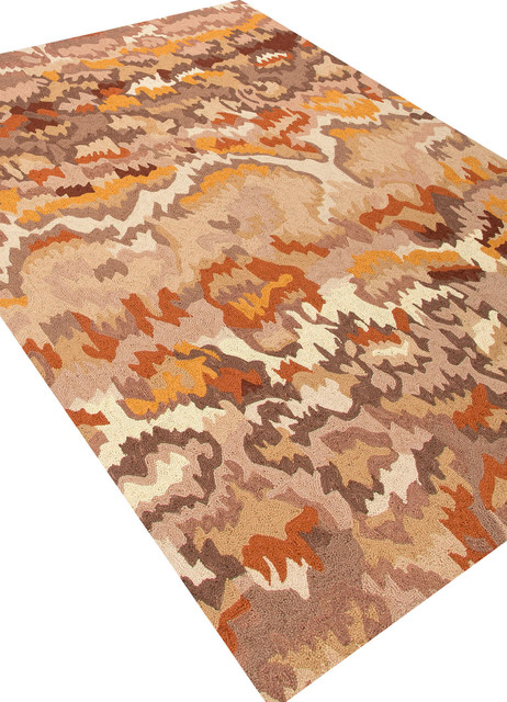Hand-Tufted Durable Wool Taupe/Yellow Area Rug (5 x 8) - Transitional - Rugs - by Aster Lane
