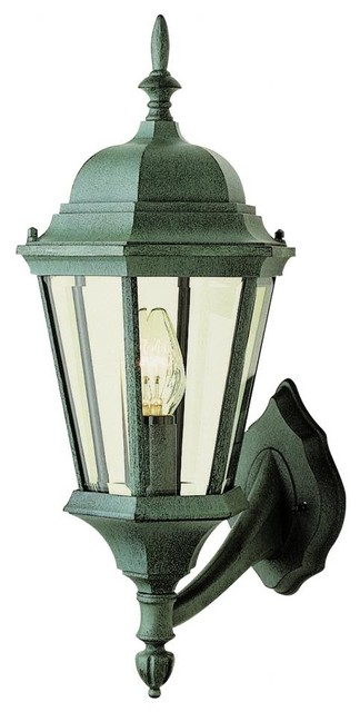 One Light Verde Green Clear Beveled Glass Wall Lantern - Traditional - Outdoor Wall Lights And ...
