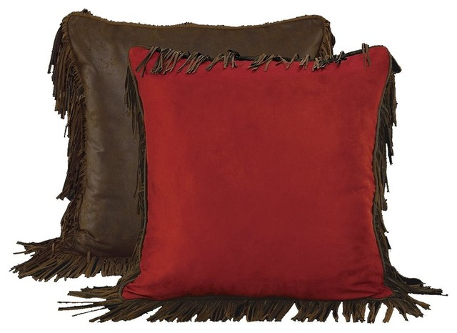 Southwestern Pillow Shams : Red Euro Sham With Fringes - Southwestern - Pillowcases And Shams - by HiEnd Accents
