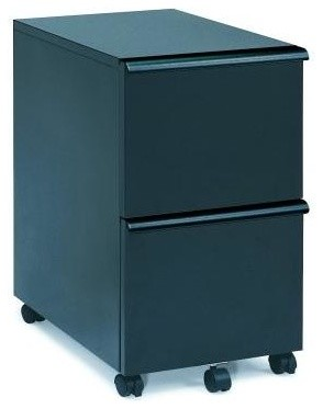 Black Finish File Cabinet w Key Lock - Contemporary - Filing Cabinets