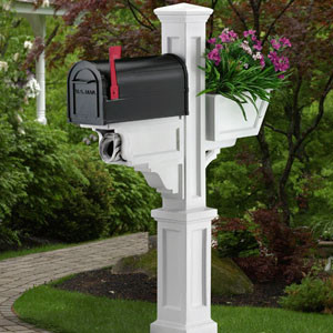 Mayne Signature Mailbox Package In White With Flower Box Traditional Mailboxes