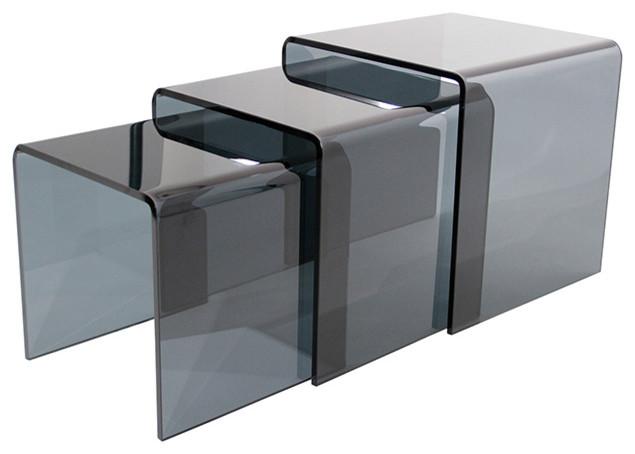 Table gigogne verre gris fum design contemporain for Table d appoint pour canape