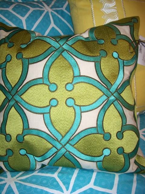 Bold Pattern Teal / Green / Cream Linen Pillow - Decorative Pillows - birmingham - by Lee Ann s ...