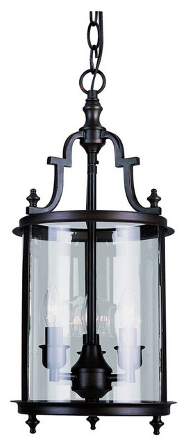 Foyer Lighting Oil Rubbed Bronze : Three light clear glass rubbed oil bronze framed