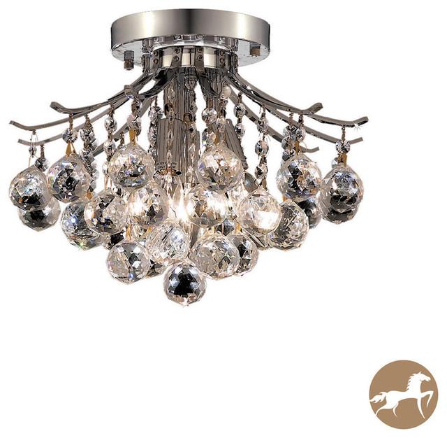 somette 3 light chrome flush mount crystal chandelier