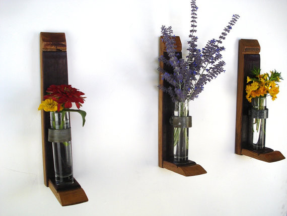 Wall Hanging Flower Holders by Wine Country Craftsman - Contemporary - Vases - by Etsy