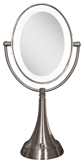Cordless Dual-Sided LED Lighted Oval Vanity Mirror - Transitional - Makeup Mirrors - by Bathroom ...