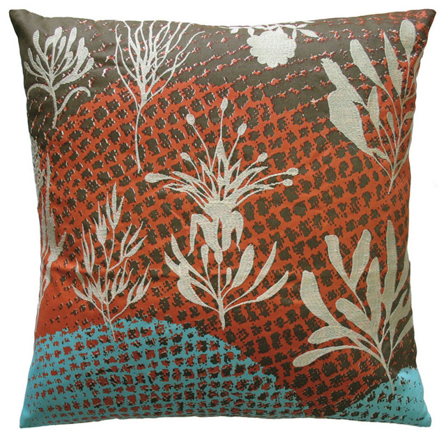 Eclectic Couch Pillows : Koko Ecco Rust and Teal Wave Throw Pillow - Eclectic - Decorative Pillows - by purehome