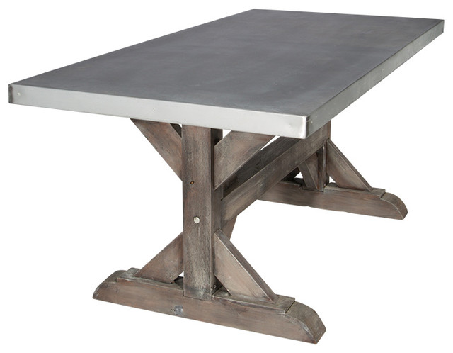 Zinc farm trestle table rustic sand 6 39 industrial for Rustic trestle dining table