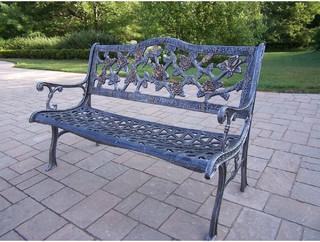 Oakland Living English Tea Rose Cast Aluminum Patio Bench Antique Pewter