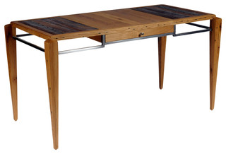 Halifax Desk Oak Clear Lacquer Metal Base Polished Steel Contemporary Desks And Hutches