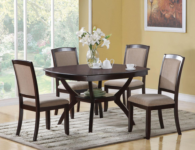5 pc casual cappuccino wood dining set storage table for Small casual dining sets